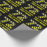 "[ Thumbnail: Black & Yellow Striped ""72""; 72nd Birthday + Name Wrapping Paper ]"