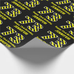 "[ Thumbnail: Black & Yellow Striped ""73""; 73rd Birthday + Name Wrapping Paper ]"