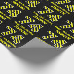 "[ Thumbnail: Black & Yellow Striped ""74""; 74th Birthday + Name Wrapping Paper ]"