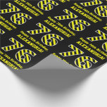 "[ Thumbnail: Black & Yellow Striped ""76""; 76th Birthday + Name Wrapping Paper ]"