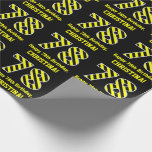 "[ Thumbnail: Black & Yellow Striped ""78""; 78th Birthday + Name Wrapping Paper ]"