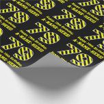 "[ Thumbnail: Black & Yellow Striped ""79""; 79th Birthday + Name Wrapping Paper ]"