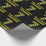"[ Thumbnail: Black & Yellow Striped ""7""; 7th Birthday + Name Wrapping Paper ]"
