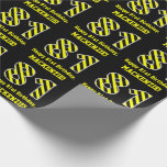 "[ Thumbnail: Black & Yellow Striped ""81""; 81st Birthday + Name Wrapping Paper ]"