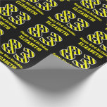 "[ Thumbnail: Black & Yellow Striped ""83""; 83rd Birthday + Name Wrapping Paper ]"