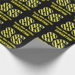 "[ Thumbnail: Black & Yellow Striped ""86""; 86th Birthday + Name Wrapping Paper ]"