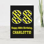 "[ Thumbnail: Black & Yellow Striped ""88""; 88th Birthday + Name Card ]"