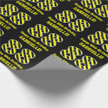 "[ Thumbnail: Black & Yellow Striped ""88""; 88th Birthday + Name Wrapping Paper ]"