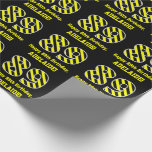 "[ Thumbnail: Black & Yellow Striped ""89""; 89th Birthday + Name Wrapping Paper ]"