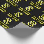 "[ Thumbnail: Black & Yellow Striped ""8""; 8th Birthday + Name Wrapping Paper ]"