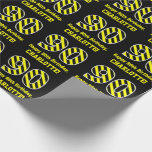 "[ Thumbnail: Black & Yellow Striped ""90""; 90th Birthday + Name Wrapping Paper ]"