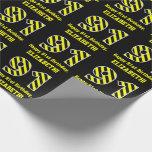 "[ Thumbnail: Black & Yellow Striped ""91""; 91st Birthday + Name Wrapping Paper ]"