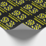 "[ Thumbnail: Black & Yellow Striped ""93""; 93rd Birthday + Name Wrapping Paper ]"