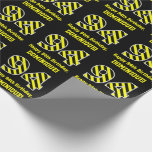 "[ Thumbnail: Black & Yellow Striped ""94""; 94th Birthday + Name Wrapping Paper ]"