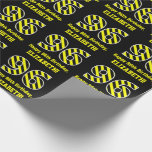 "[ Thumbnail: Black & Yellow Striped ""96""; 96th Birthday + Name Wrapping Paper ]"