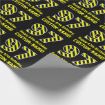 "[ Thumbnail: Black & Yellow Striped ""97""; 97th Birthday + Name Wrapping Paper ]"
