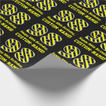 "[ Thumbnail: Black & Yellow Striped ""98""; 98th Birthday + Name Wrapping Paper ]"