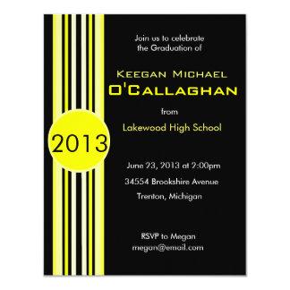 Black & Yellow Striped Graduation Party Invitation