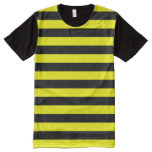 [ Thumbnail: Black & Yellow Stripes Pattern Shirt ]