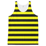 [ Thumbnail: Black & Yellow Stripes Pattern Tank Top ]