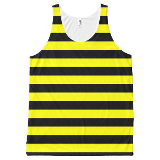 Black & Yellow Stripes Pattern All-Over-Print Tank Top