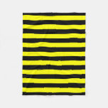 [ Thumbnail: Black & Yellow Stripes Pattern Fleece Blanket ]
