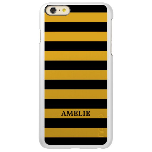 Black Yellow Stripes Pattern {pick your color} Incipio Feather Shine iPhone 6 Plus Case