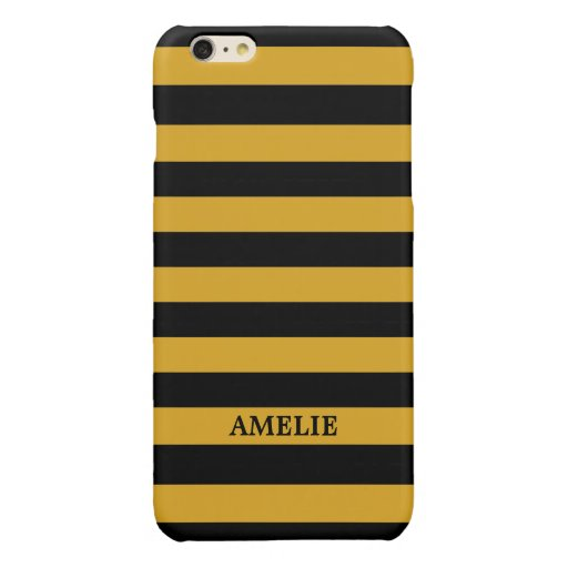 Black Yellow Stripes Pattern {pick your color} Glossy iPhone 6 Plus Case