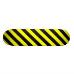 [ Thumbnail: Black & Yellow Stripes Pattern Skateboard ]