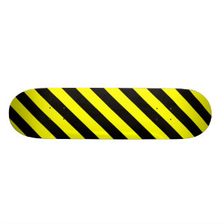 Black & Yellow Stripes Pattern Skateboard
