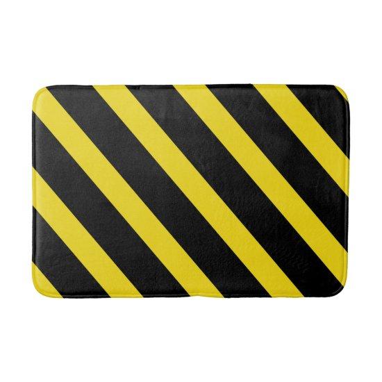 Black & Yellow Stripes Striped Bath Mat
