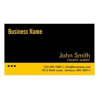 Black & Yellow Talent Agent Business Card