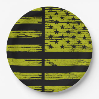 Black & Yellow USA Flag Paper Plates