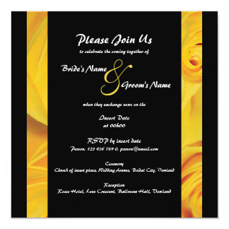 Black yellow wedding engagement PERSONALIZE Card