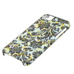 Black Yellow & White Floral Damasks Pattern iPhone 5C Covers