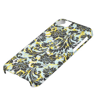 Black Yellow & White Floral Damasks Pattern iPhone 5C Cases