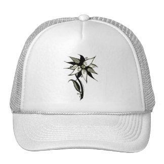 Black Yellow & White Swirly Flower by Naomi Mesh Hats