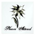 Black Yellow & White Swirly Flower by Naomi Custom Invitations