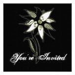Black Yellow & White Swirly Flower by Naomi Personalized Invite