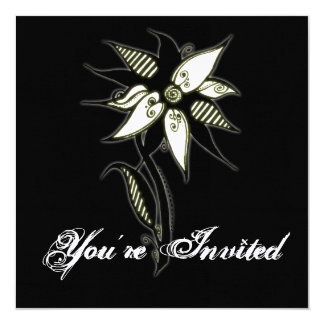 "Black Yellow & White Swirly Flower by Naomi 5.25"" Square Invitation Card"