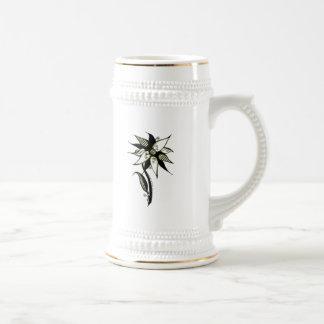 Black Yellow & White Swirly Flower by Naomi 18 Oz Beer Stein