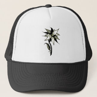 Black Yellow & White Swirly Flower by Naomi Trucker Hat