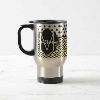 Black, Yellow, & White Triangles & Tribal Monogram Travel Mug