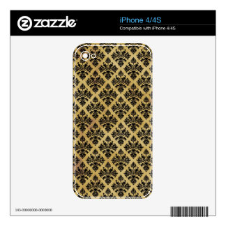 Black & Yellowed Distressed Damask #2 Decals For iPhone 4