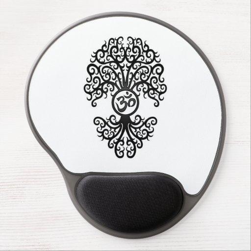 Black Yoga Om Tree on White Gel Mouse Pads