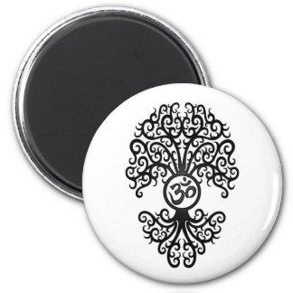 Black Yoga Om Tree on White Magnet