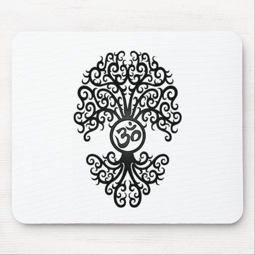 Black Yoga Om Tree on White Mouse Pad