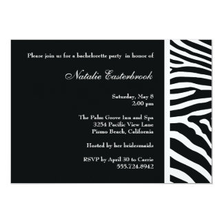 Black Zebra Bachelorette Party Invitation