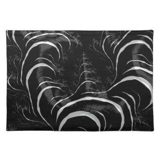 Black Zebra Glossy Fractal Art Placemats