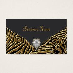 Black Zebra Gold Black Zebra Business Card at Zazzle